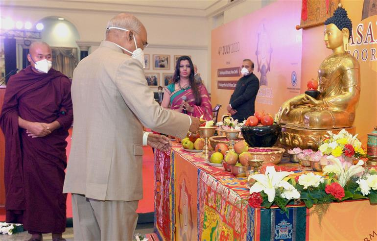 The President, Shri Ram Nath Kovind lighting the lamp to inaugurate the Dharma Chakra Diwas in a Virtual Event organised by the International Buddhist Confederation, at Rashtrapati Bhavan Cultural Centre, in New Delhi on July 04, 2020.