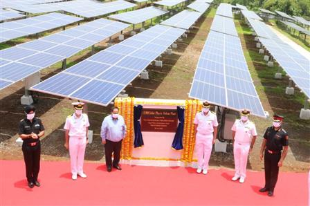 The 2 MW Solar Power Plant at Naval Station Karanja along with the dignitaries involved in the project.:Ministry of Defence