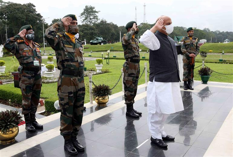The Union Minister for Defence, Shri Rajnath Singh paying homage to the fallen heroes of 33 Corps, in Sikkim on October 25, 2020.
