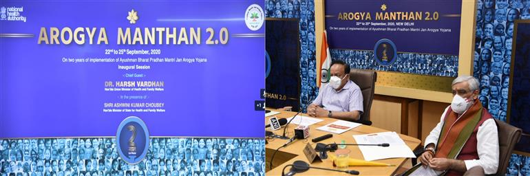 The Union Minister for Health & Family Welfare, Science & Technology and Earth Sciences, Dr. Harsh Vardhan inaugurates the Arogya Manthan 2.0, to mark the completion of the two years of Ayushman Bharat Pradhan Mantri Jan Arogya Yojana (AB PM-JAY), in New Delhi on September 22, 2020. The Minister of State for Health and Family Welfare, Shri Ashwini Kumar Choubey is also seen.