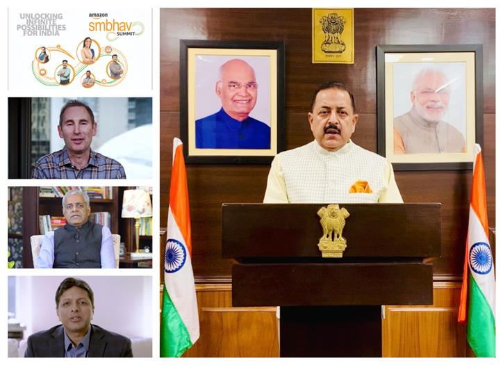 "The Minister of State for Development of North Eastern Region (I/C), Prime Minister's Office, Personnel, Public Grievances & Pensions, Atomic Energy and Space, Dr. Jitendra Singh addressing the ""Amazon Sambhav online Summit"", on the theme ""Unlocking Infinite Possibility for India"", in New Delhi on April 16, 2021."