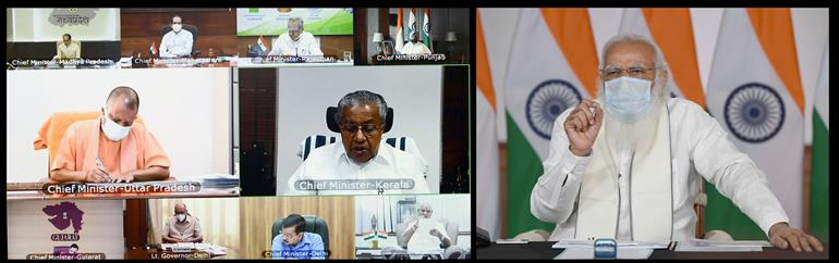 The Prime Minister, Shri Narendra Modi chairing the high level meeting on COVID-19 situation with the Chief Ministers through video conferencing, in New Delhi on April 23, 2021.