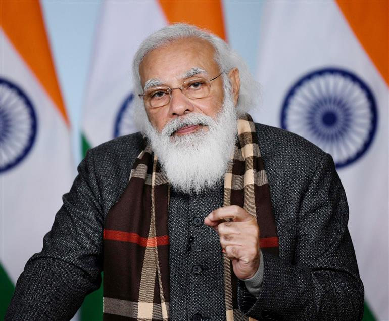 The Prime Minister, Shri Narendra Modi addressing at the flagging off ceremony of eight trains connecting different regions of the country to Kevadiya, Gujarat, through video conferencing, in New Delhi on January 17, 2021.