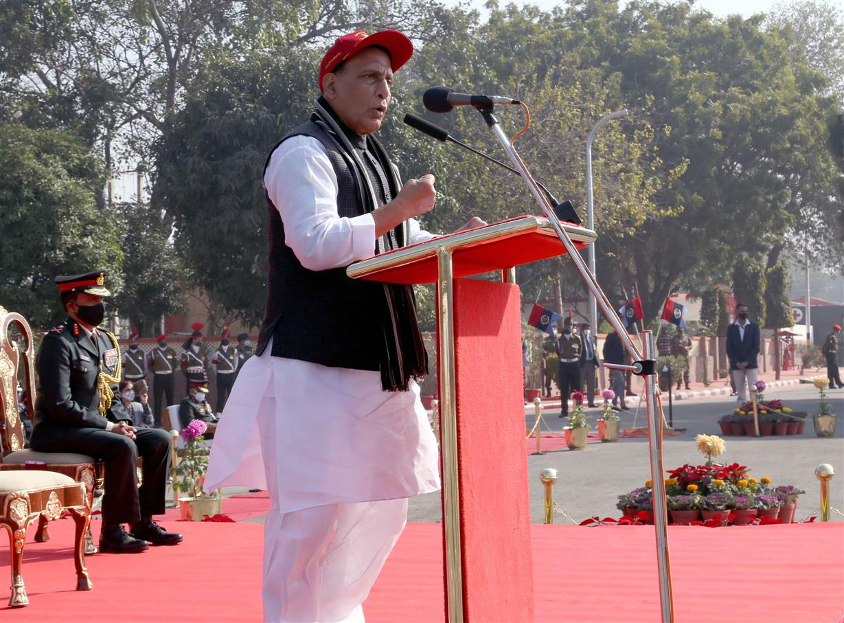 The Union Minister for Defence, Shri Rajnath Singh addressing the NCC cadets, at the Republic Day NCC Camp 2021, at Delhi Cantt., in New Delhi on January 21, 2021.