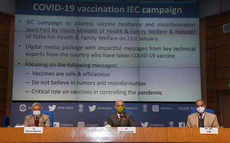 The Additional Secretary, Ministry of Health & Family Welfare, Dr. Manohar Agnani addressing a press conference on COVID-19 vaccination, in New Delhi on January 21, 2021.  The Principal Director General (M&C), Press Information Bureau, Shri K.S. Dhatwalia is also seen.