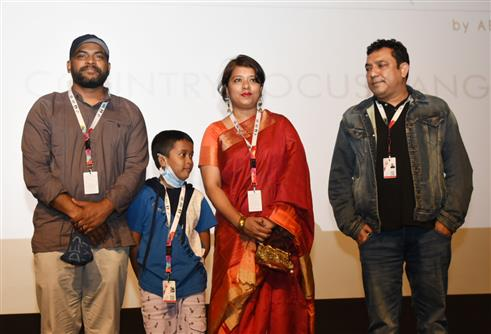 Director Mr. Abu Shahed Emon of 'Jalal's Story' along with leading cast being felicitated, during the 51st International Film Festival of India (IFFI-2021), in Panaji, Goa on January 21, 2021.