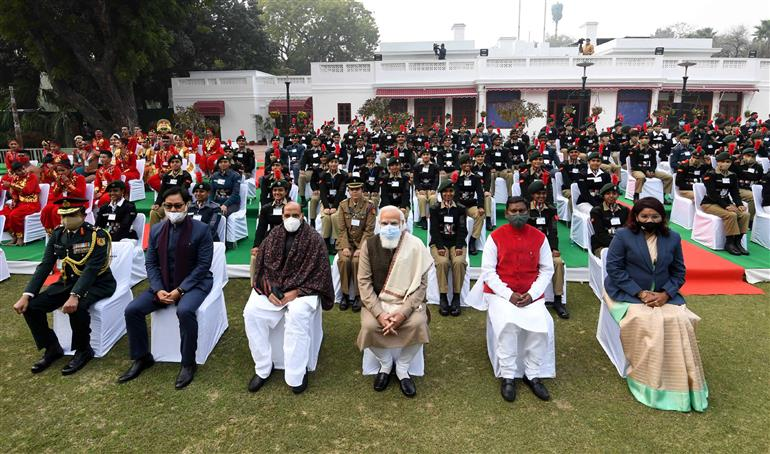 The Prime Minister, Shri Narendra Modi with the Tribal Guests, NCC Cadets, NSS Volunteers and Tableaux Artists at an 'At Home' event, in New Delhi on January 24, 2021.