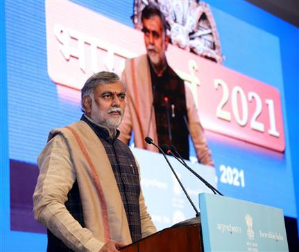 The Minister of State for Culture and Tourism (Independent Charge), Shri Prahlad Singh Patel addressing at the inauguration of the Bharat Parv 2021, in New Delhi on January 26, 2021.