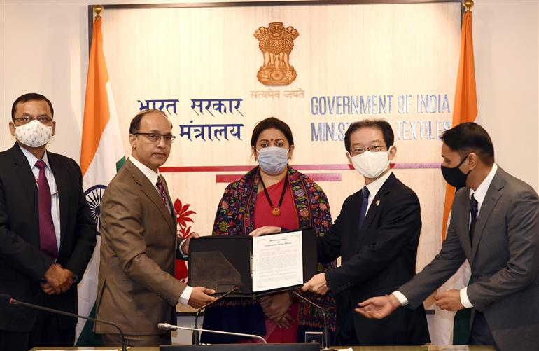 The Union Minister for Women & Child Development and Textiles, Smt. Smriti Irani virtually witnessing the signing ceremony of an MoU between Textiles Committee, Ministry of Textiles and M/s Nissenken Quality Evaluation Centre, Tokyo, in New Delhi on January 27, 2021.