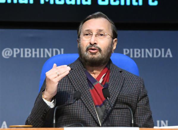 The Union Minister for Environment, Forest & Climate Change, Information & Broadcasting and Heavy Industries and Public Enterprise, Shri Prakash Javadekar holding a press conference on Cabinet Decisions, in New Delhi on January 27, 2021.