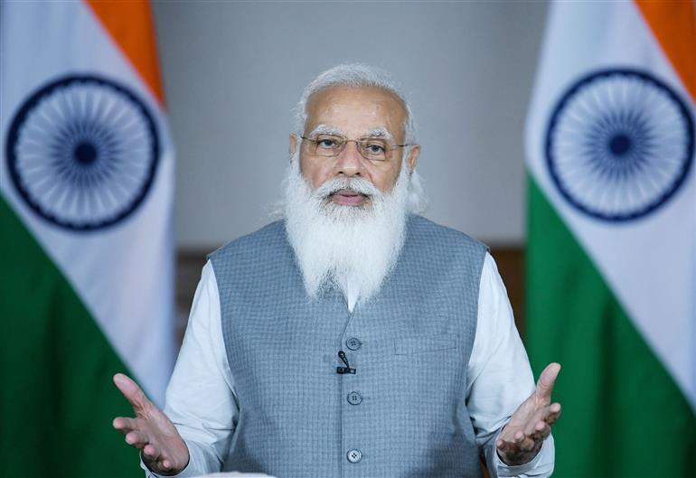 The Prime Minister, Shri Narendra Modi delivers keynote address at the 5th edition of VivaTech, through video conferencing, in New Delhi on June 16, 2021.