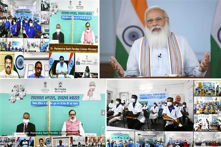 The Prime Minister, Shri Narendra Modi addressing at the launch of the 'Customized Crash Course programme for COVID-19 Frontline workers', through video conferencing, in New Delhi on June 18, 2021.