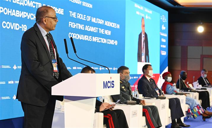 The Defence Secretary, Dr. Ajay Kumar addressing the plenary session of 9th Moscow Conference on International Security, in Moscow, Russia on June 23, 2021.