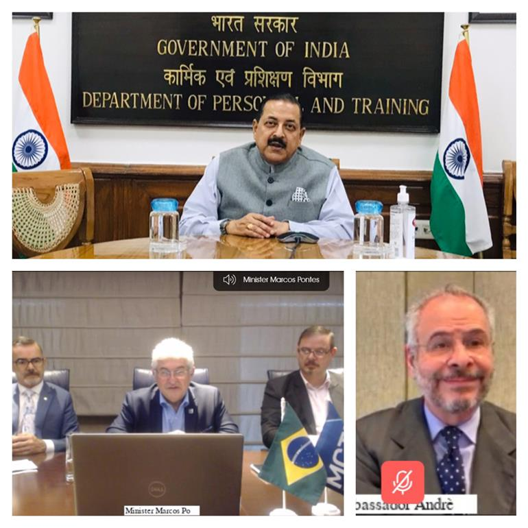 The Minister of State for Development of North Eastern Region (I/C), Prime Minister's Office, Personnel, Public Grievances & Pensions, Atomic Energy and Space, Dr. Jitendra Singh virtually discusses collaboration in the Space Sector with the Brazilian Minister for Science, Technology and Innovation, Mr. Marcos Cesar Pontes, in New Delhi on March 01, 2021.
