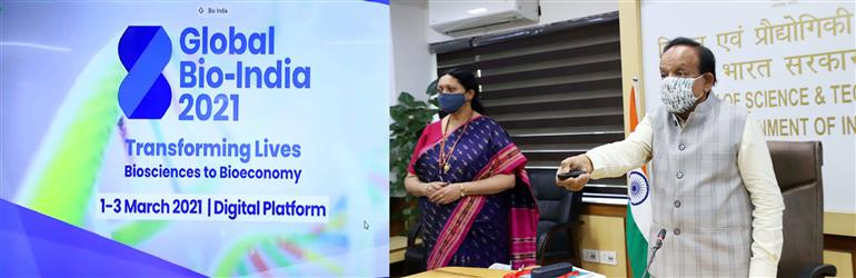 The Union Minister for Health & Family Welfare, Science & Technology and Earth Sciences, Dr. Harsh Vardhan inaugurates the Global Bio India-2021, in New Delhi on March 01, 2021. The Secretary, DBT, Dr. Renu Swarup is also seen.