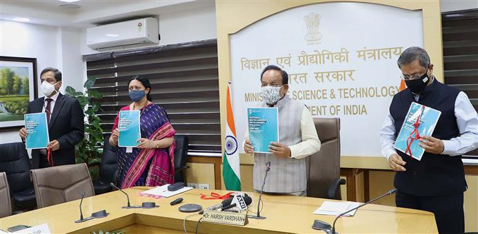 The Union Minister for Health & Family Welfare, Science & Technology and Earth Sciences, Dr. Harsh Vardhan releasing the 'National Biotech Strategy' at the inauguration of the Global Bio India-2021, in New Delhi on March 01, 2021. The Secretary, DBT, Dr. Renu Swarup and other dignitaries are also seen.