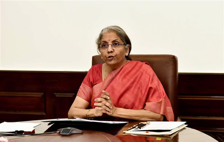The Union Minister for Finance and Corporate Affairs, Smt. Nirmala Sitharaman virtually addressing at the inauguration of the Global Bio India-2021, in New Delhi on March 01, 2021.