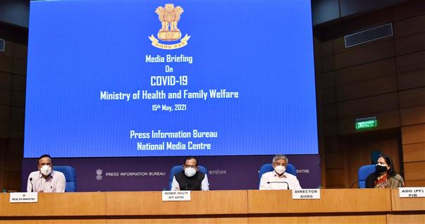 The Member (Health), NITI Aayog, Dr. Vinod K. Paul along with the Director, AIIMS, Dr. Randeep Guleria addressing a press conference on the actions taken, preparedness and updates on COVID-19 (Including Vaccination), in New Delhi on May 15, 2021. The Joint Secretary, MoHFW, Shri Lav Agarwal is also seen.