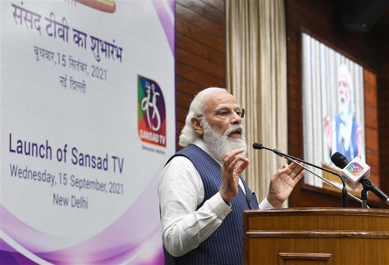 The Prime Minister, Shri Narendra Modi addressing at the launch of the Sansad TV, on the occasion of the International Day of Democracy, in New Delhi on September 15, 2021.