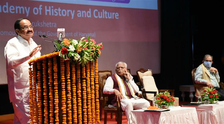 The Vice President, Shri M. Venkaiah Naidu addressing the gathering at an event to release the collected works, 'Sir Chhotu Ram: Writings & Speeches', in Gurugram on September 19, 2021.  The Chief Minister of Haryana, Shri Manohar Lal Khattar is also seen.
