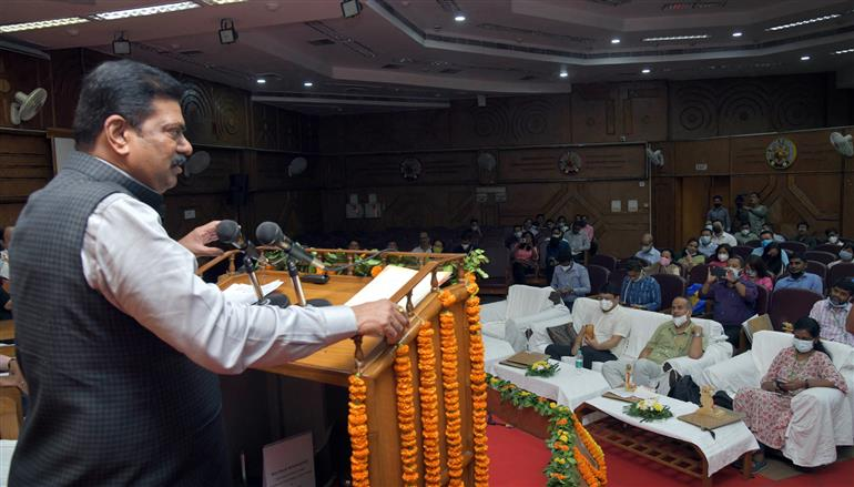 The Minister of State for Panchayati Raj, Shri Kapil Moreshwar Patil addressing at the National Level Orientation Workshop on People's Plan Campaign 2021 for North Eastern States (Sabki Yojana Sabka Vikas), organised by the National Institute of Rural Development & Panchayati Raj North Eastern Regional Centre, in Guwahati on September 23, 2021.