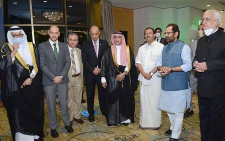 """The Union Minister for Minority Affairs, Shri Mukhtar Abbas Naqvi attending the Saudi Arabia """"National Day"""" programme, organised by the Saudi Arabia Embassy, in New Delhi on September 23, 2021. The Minister of State for External Affairs and Parliamentary Affairs, Shri V. Muraleedharan, the Saudi Arabia Ambassador, Dr. Saud Mohammed Al-Sati and the former External Affairs Minister, Shri Salman Khurshid are also seen."""