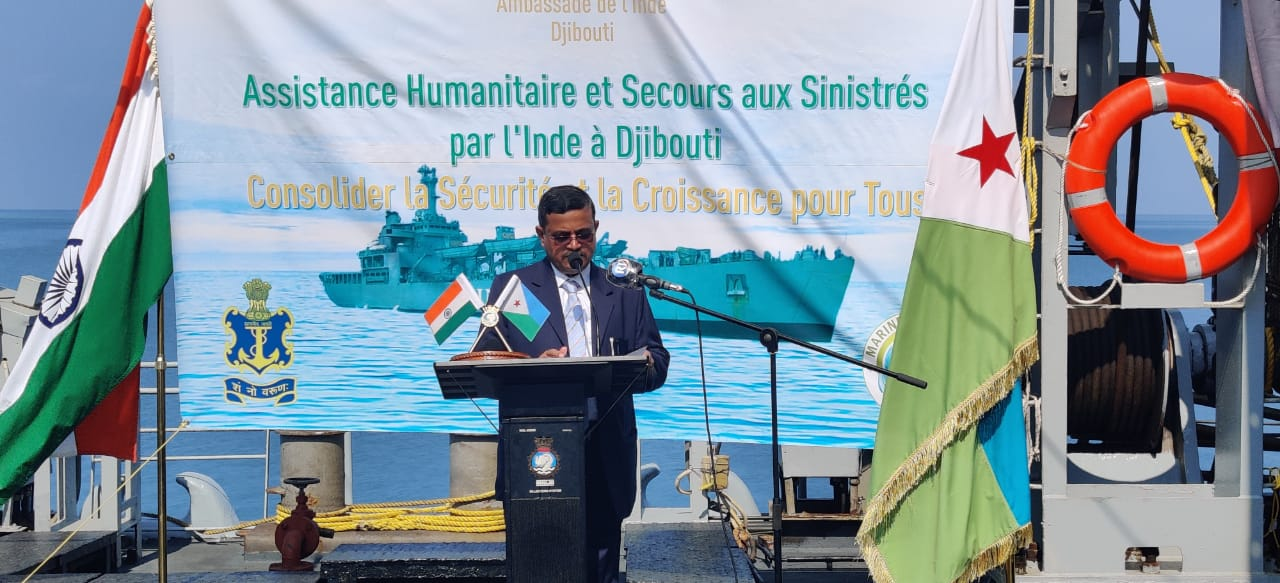 Mission Sagar - II Handing Over Food AID to Djibouti by INS Airavat 1