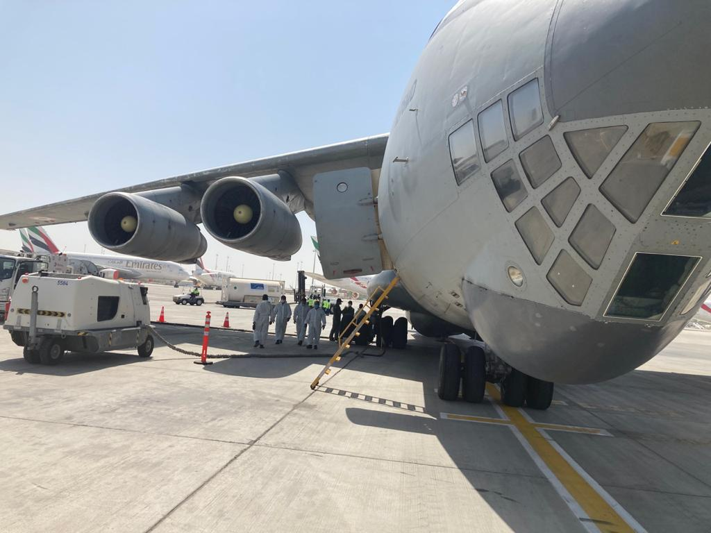 Transporter of Oxygen Containers to Dubai by IAF
