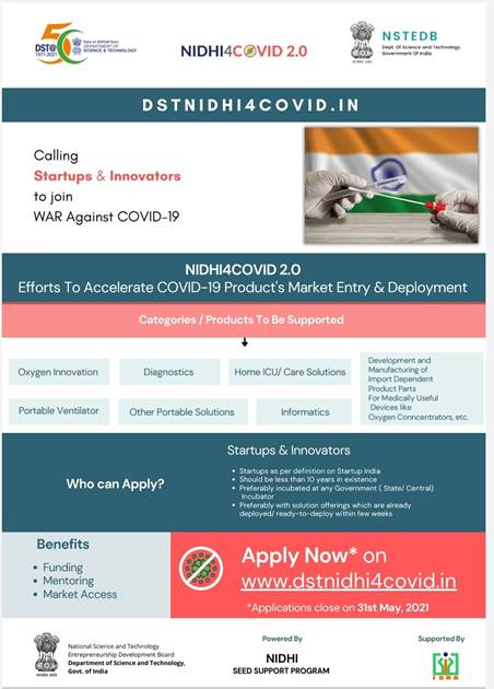 DST invites applications from startups and companies for developing new technologies and innovative products to tackle second COVID wave