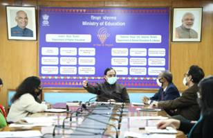 Union Education Minister chairs a high-level review meeting on various schemes and programmes of Education Ministry