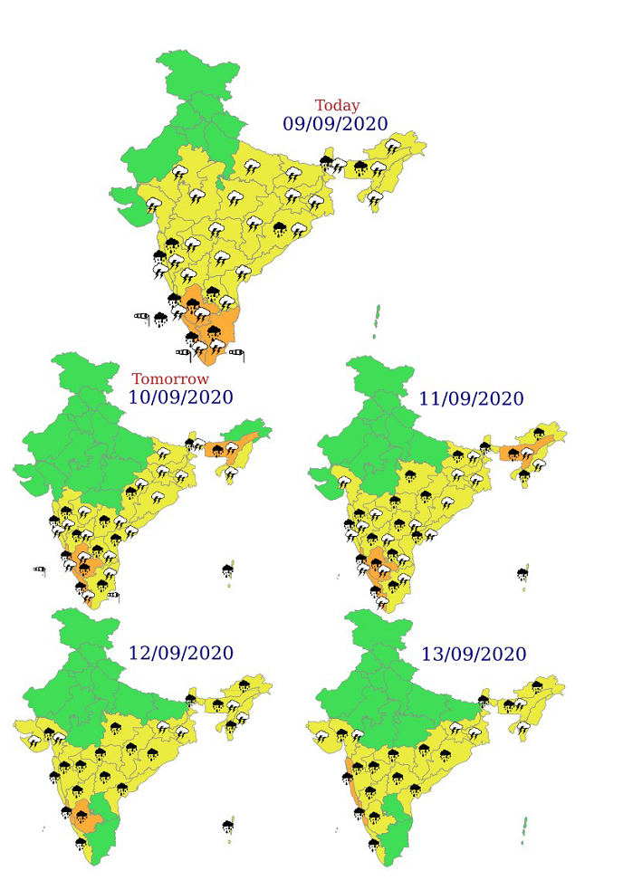 Extremely heavy rainfall at isolated places also very likely over Coastal & South Interior Karnataka on 11th September, 2020