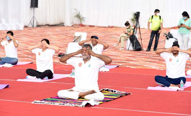 Yoga programmes organised at 75 heritage locations across India with the theme 'Yoga, An Indian Heritage' on International Day of Yoga today