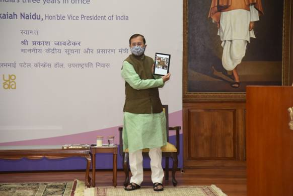 Union Minister Shri Prakash Javadekar releases e-book 'Connecting, Communicating, Changing' the Vice President of India's three years in office