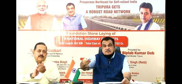 Foundation Stones of 9 NH Projects in Tripura Launched by Nitin Gadkari