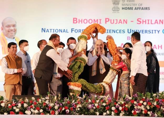 गृह मंत्री अमित शाह ने आज गोवा के धारबांदोडा में राष्ट्रीय फ़ॉरेन्सिक साइंस यूनिवर्सिटी (NFSU) के तीसरे कैंपस की आधारशिला रखी