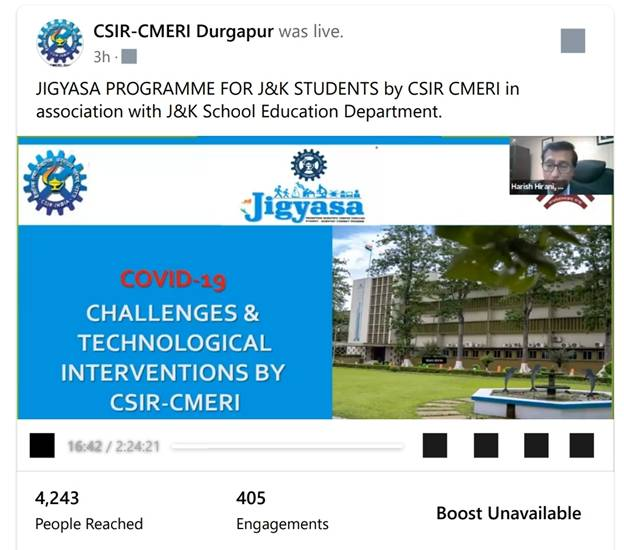 Webinar on Scientific & Technological Interventions by CSIR-CMERI combating COVID-19 under Jigyasa programme