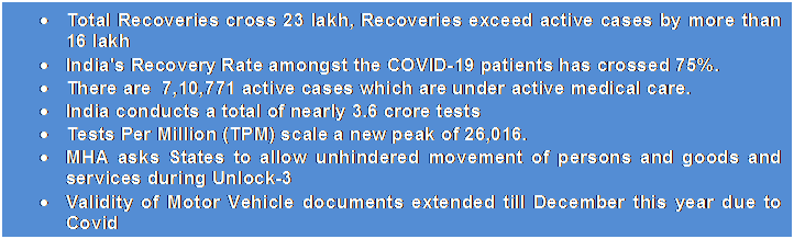Text Box: •Total Recoveries cross 23 lakh, Recoveries exceed active cases by more than 16 lakh•India's Recovery Rate amongst the COVID-19 patients has crossed 75%.•There are  7,10,771 active cases which are under active medical care.•India conducts a total of nearly 3.6 crore tests•Tests Per Million (TPM) scale a new peak of 26,016.•MHA asks States to allow unhindered movement of persons and goods and services during Unlock-3•Validity of Motor Vehicle documents extended till December this year due to Covid